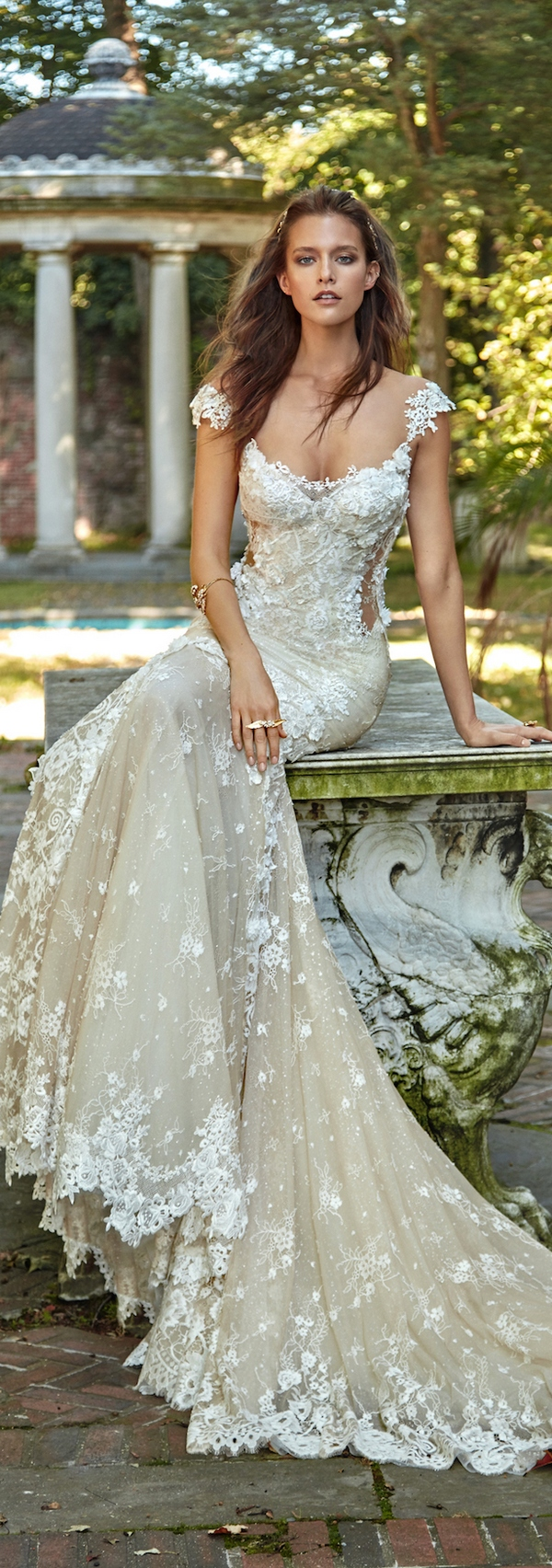 thin strap lace applique wedding dress with cutouts and a flattering scoop neckline