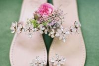 17 floral crystal wedding sandals with blush and silver rhinestones