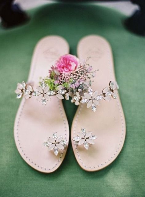 floral crystal wedding sandals with blush and silver rhinestones