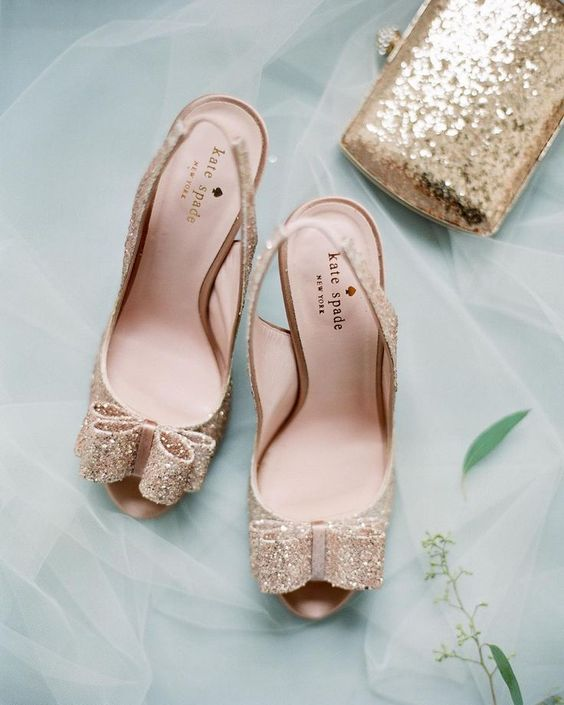gold glitter peep toe shoes with captoe bows