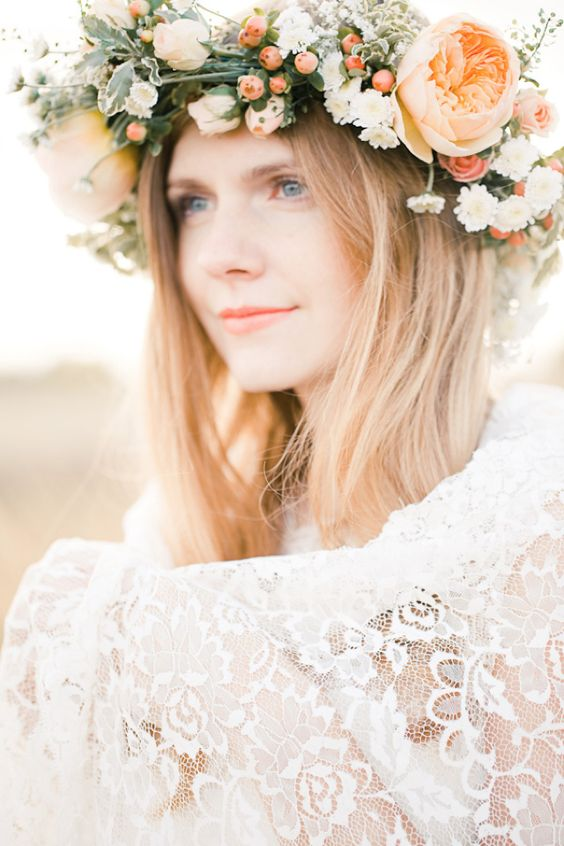 peachy flower crown with berries and pale greenery