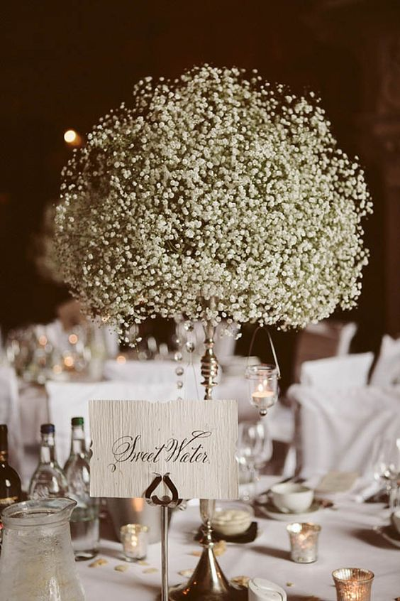 baby's breath ball centerpiece on a vintage holder