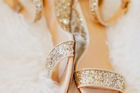18 gold glitter ankle strap wedding sandals