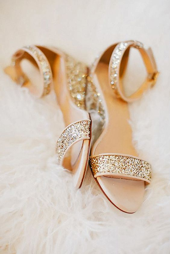 gold glitter ankle strap wedding sandals