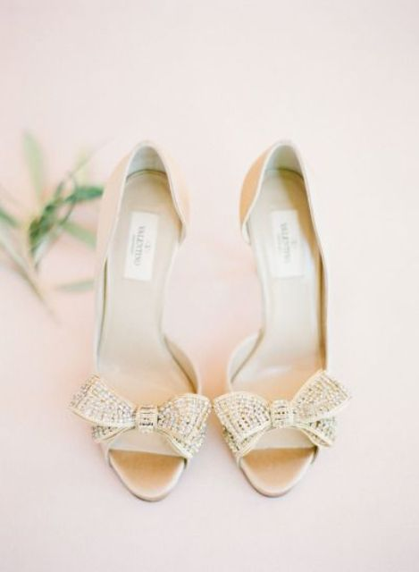 gold rhinestone peep toe wedidng shoes with sparkling bows