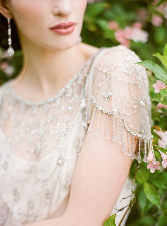 chic tulle cap sleeve with rhinestones and rhinestone fringe