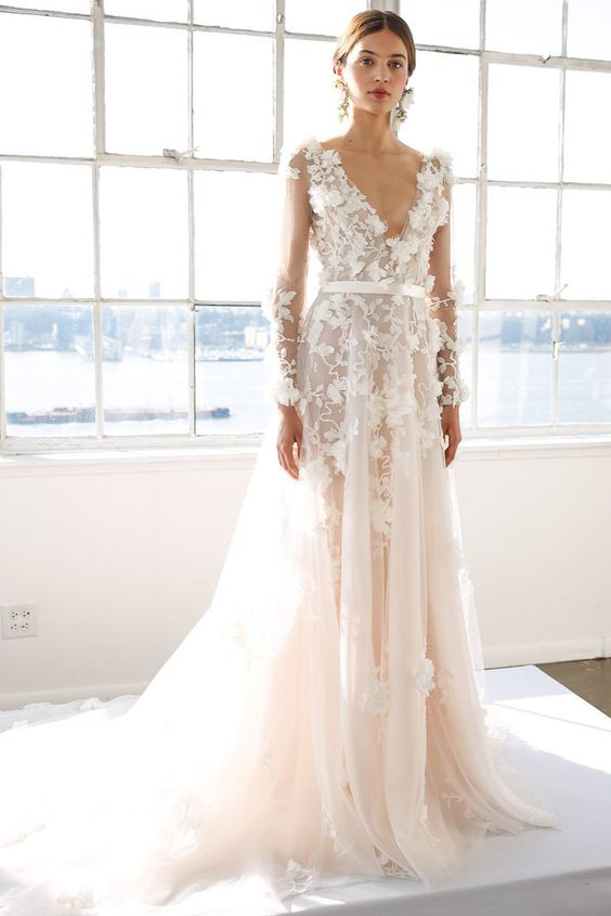 deep V-neckline and long sleeves ivory wedding dress with floral appliques