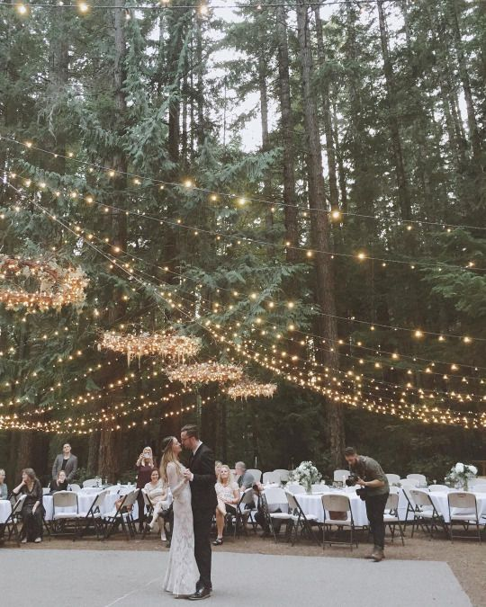 hang string lights and add some chandeliers made with string lights too & 30 Outdoor Wedding Reception Lights Ideas - Weddingomania