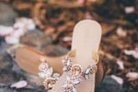 19 jeweled wedidng sandals with copper and silver crystals for decor