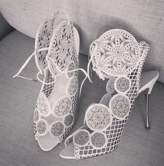 white laser cut wedding shoes with peep toes and lacing up