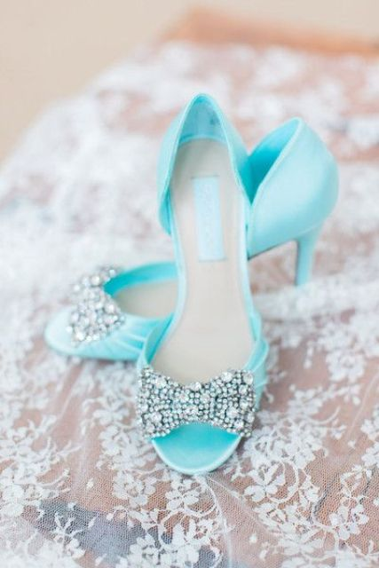 light blue peep toe wedding shoes with sparkling rhinestone bows