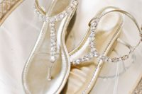 20 metallic crystal thong wedding sandals are comfy to go all day and dance all night