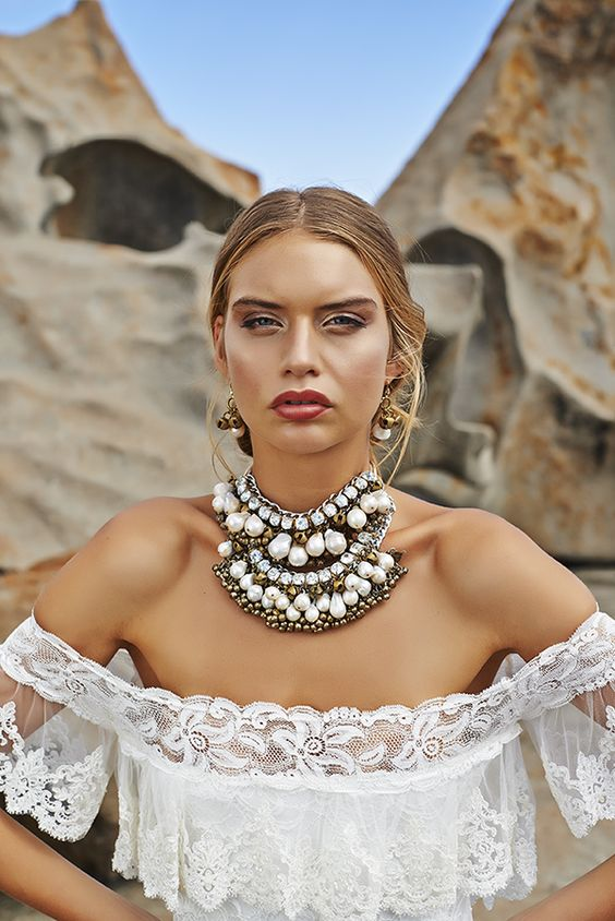 statement pearl, beads and rhinestones necklace for a boho bride