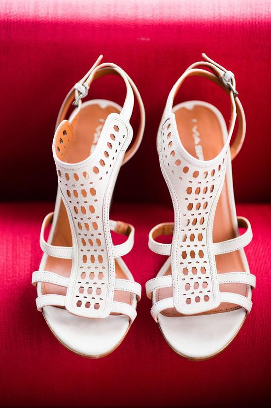 white ankle strap and laser cut heeled wedding sandals