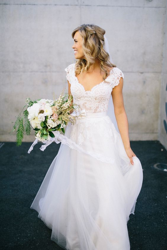 a bridal separate with a lace bodice and a skirt, the lace bodice with cap sleeves
