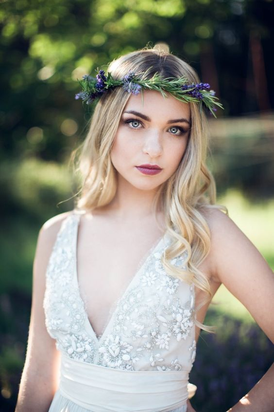 an evergreen and lavender bridal crown will be suitable for summer