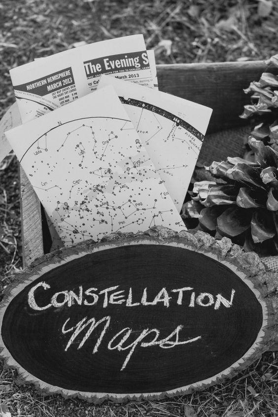 constellation maps as wedding favors are a fun idea