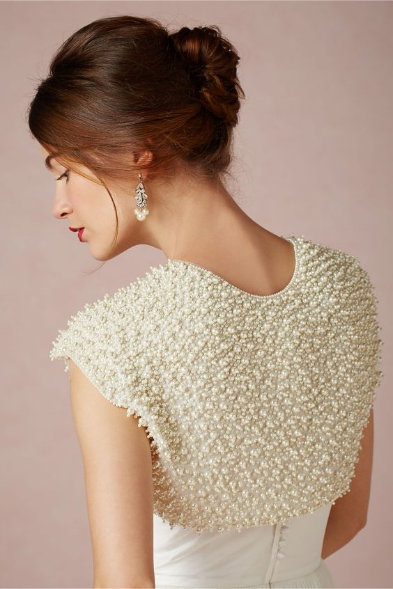 pearl covered bolero for an elegant statement and matching earrings