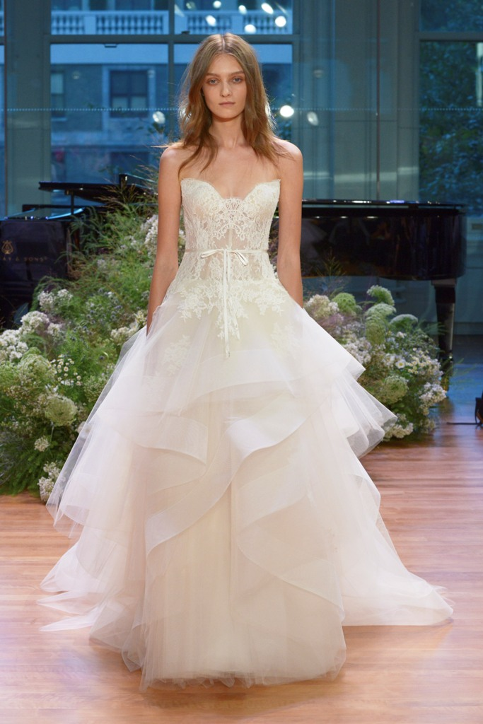 strapless ballgown with a lace bodice and a layered tulle skirt
