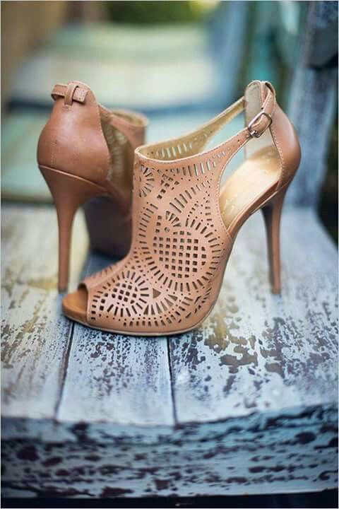tan laser cut wedding shoes with peep toes