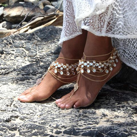 gypsy boho barefoot wedidng sandals