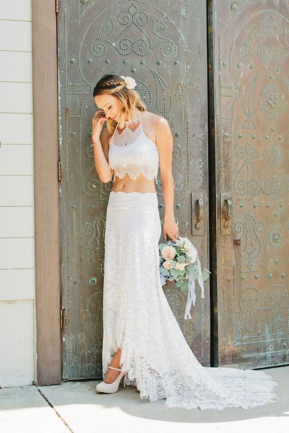 a boho lace spaghetti strap top with a scallop edge and a high low skirt with a train