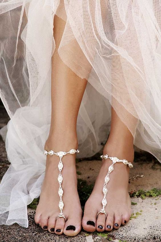 exquisite silver statement barefoot sandals for a bride