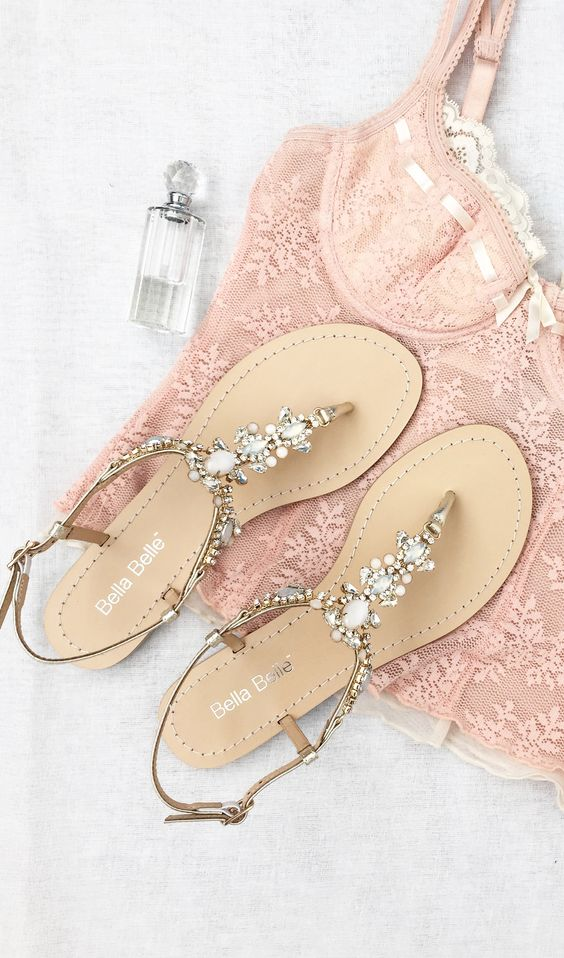 pearls and beads thong wedding sandals with straps for comfort