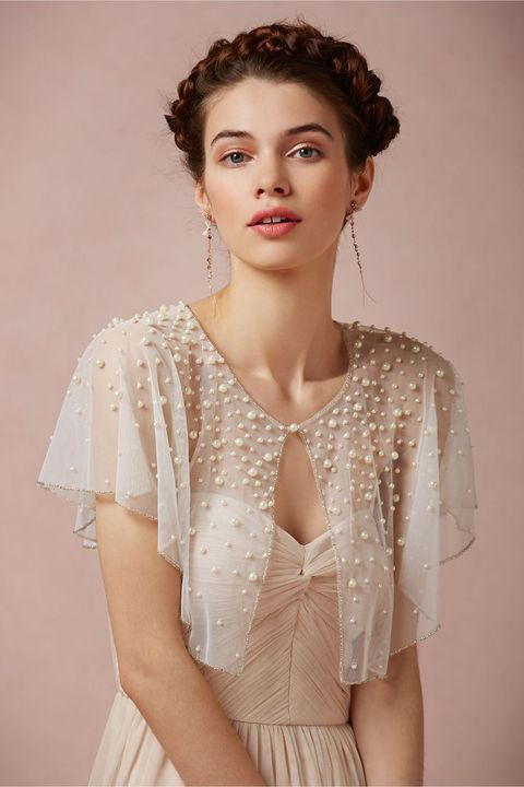 sheer blush bolero with a glitter edge and pearls all over