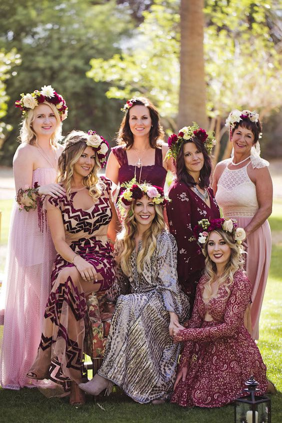 burgundy and pink mismatching bridesmaids' dresses with and without prints