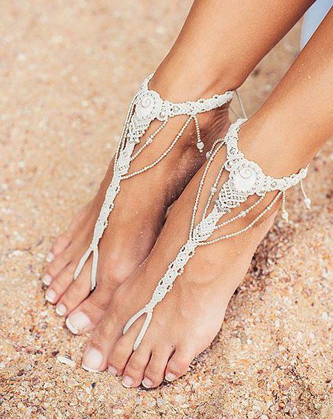macrame barefoot gypsy inspired wedding sandals for a beach bride
