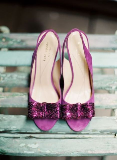purple suede wedding shoes with sequined bows