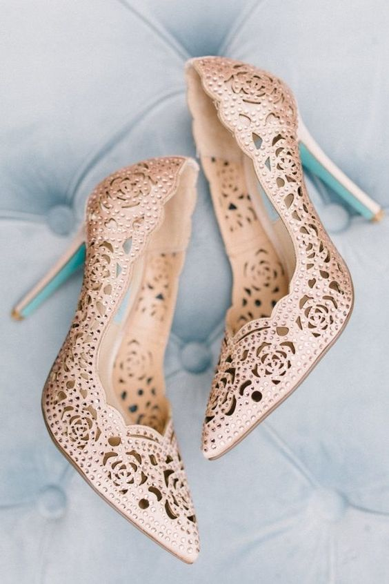 rose laser cut wedding shoes with rhinestones