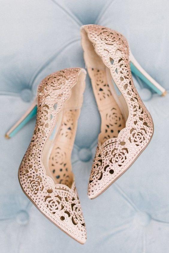 rose laser cut wedding shoes with rhinestones