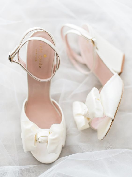 satin bow ankle strap peep toe wedding shoes