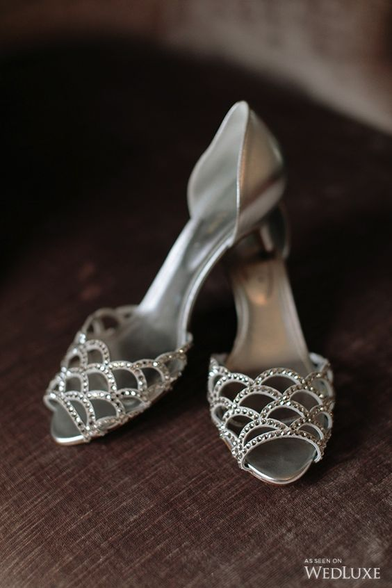 silver fish scale low heels with sparkling beads