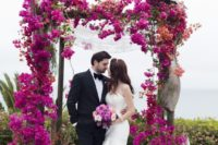 26 hot pink bougainvillea wedding arch brings a real wow factor