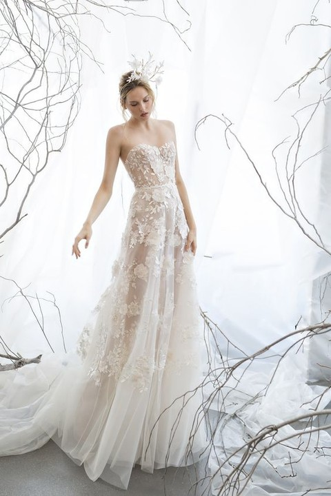 ivory nude strapless A-line gown with hand floral appliques