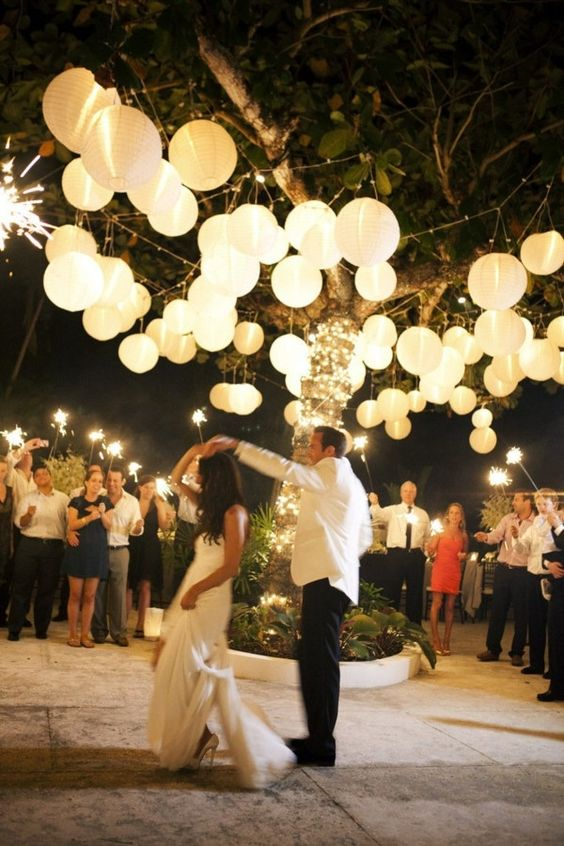 paper lanterns over the reception and dance floor are a budget savvy solution