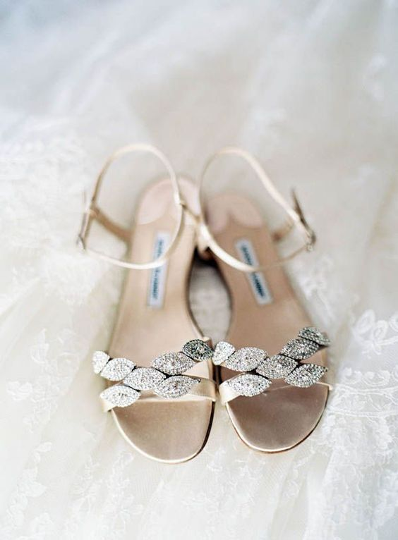 sparkling rhinestone wedding sandals in neutral shades