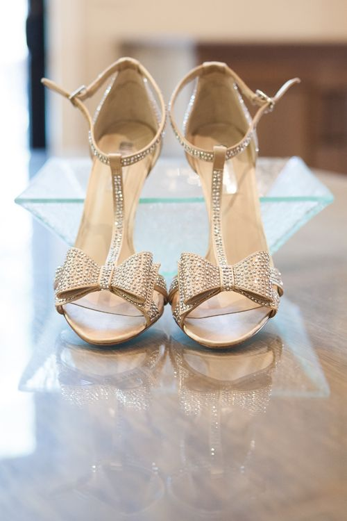 sparkling rhinestone T strap heels with bows