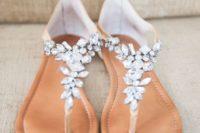 27 tan crystal-detailed thong wedding sandals