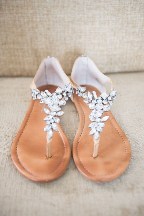 tan crystal-detailed thong wedding sandals