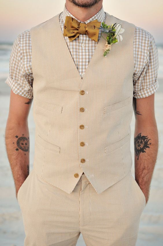 a short sleeve shirt and a vest with pants, all of natural fabrics for comfort