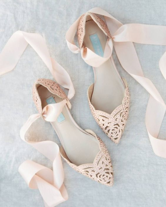 blush laser cut wedding flats with rhinestones and ribbon