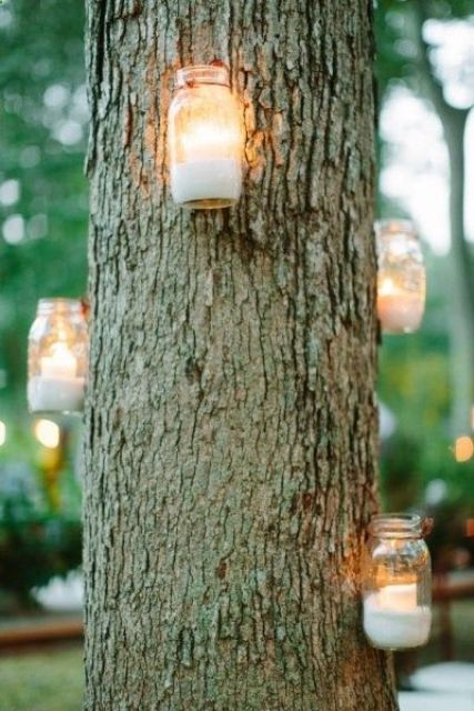 candle lanterns attached to the trees themselves