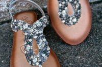 29 thong sandals with grey and silver crystals and 8 sign