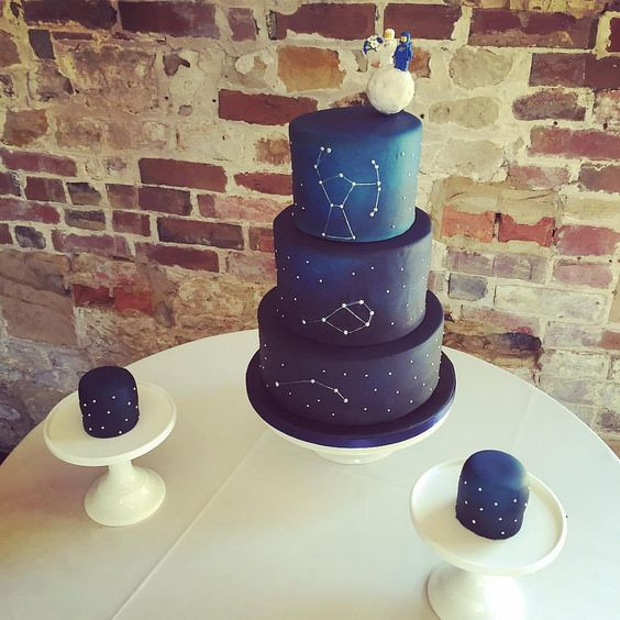 Picture Of A Navy Constellation Wedding Cake And Smaller Cakes