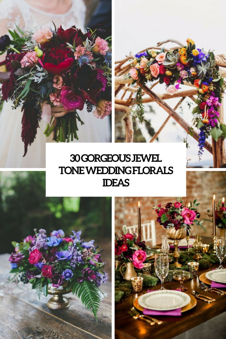 gorgeous jewel tone wedidng florals ideas cover