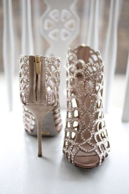 grey laser cut wedding booties with lots of rhinestones to sparkle